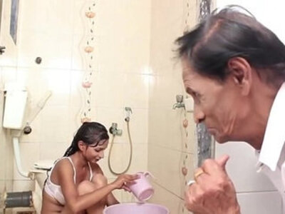 babe  bathroom  father  old man   porn video